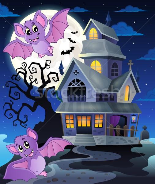 Nawiedzony domu uśmiech księżyc sztuki jesienią Zdjęcia stock © clairev