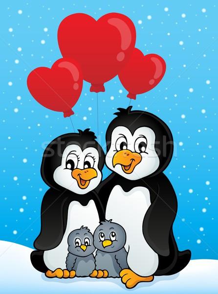Valentine penguins in snow Stock photo © clairev