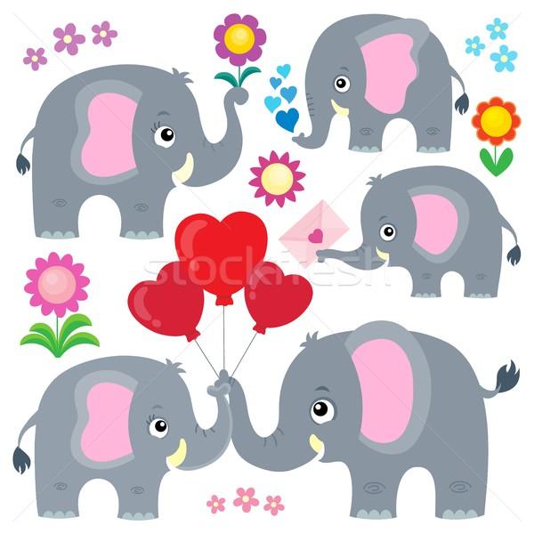 стилизованный Слоны набор счастливым письме животные Сток-фото © clairev