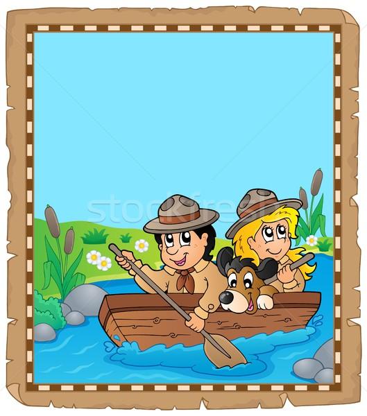 Perkament water rivier kind zomer reizen Stockfoto © clairev