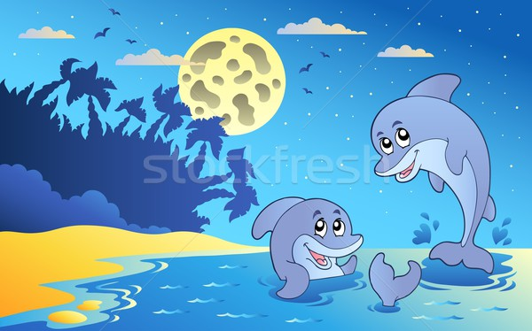 Night seascape with two dolphins Stock photo © clairev
