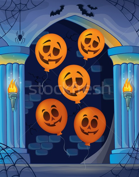 Wall alcove with Halloween balloons 1 Stock photo © clairev