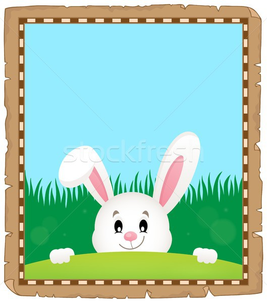 Parchment with lurking Easter bunny 3 Stock photo © clairev