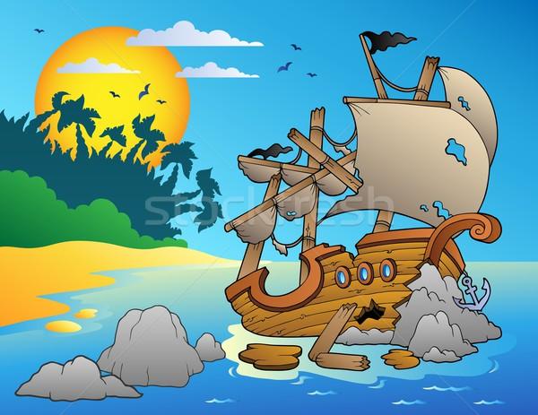 Stockfoto: Zeegezicht · schipbreuk · rotsen · zee · kunst · rock