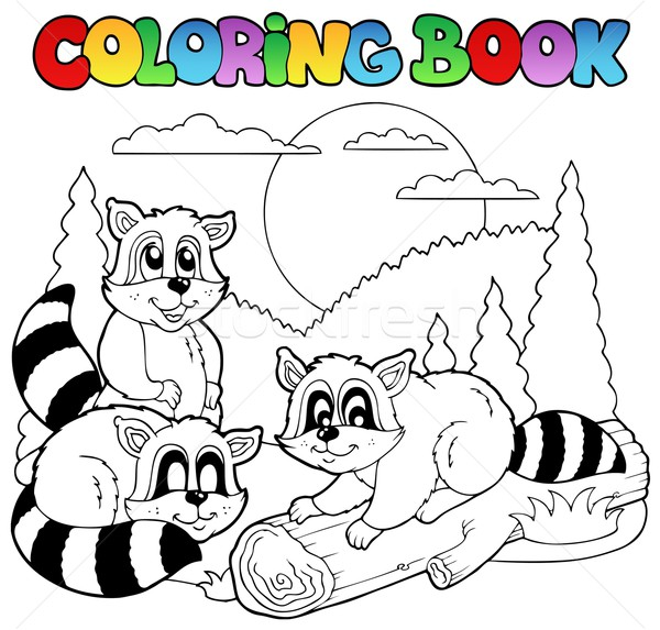 Coloring book with happy animals 3 Stock photo © clairev