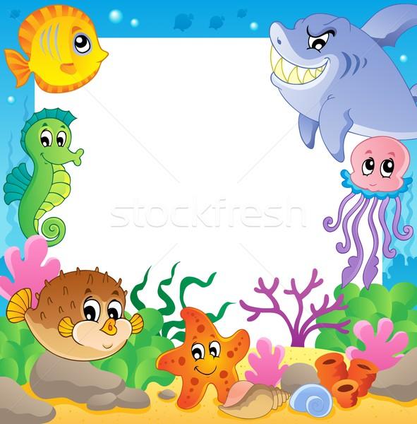 Frame with underwater animals 2 Stock photo © clairev