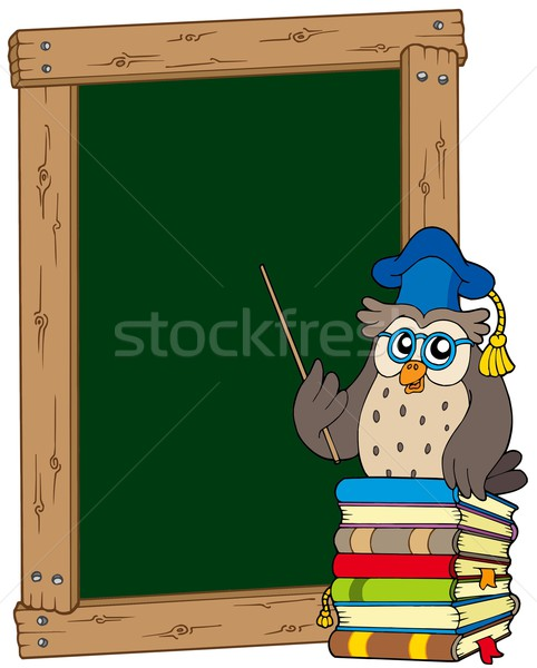 Board with owl teacher and books Stock photo © clairev