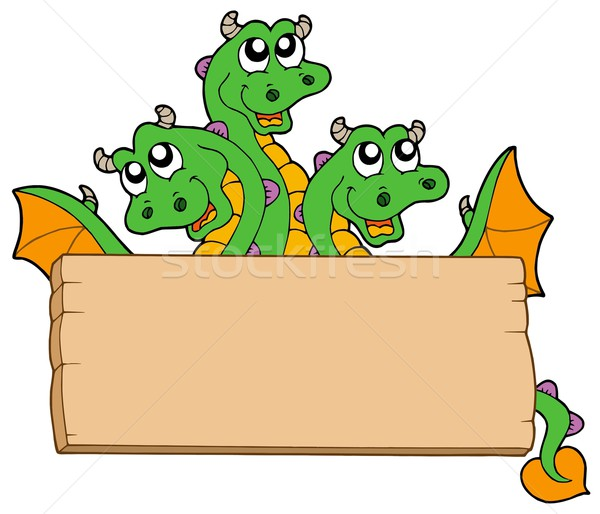 Dragon with wooden sign Stock photo © clairev