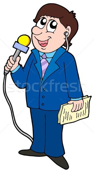 Tv muhabir mikrofon haber mavi takım elbise Stok fotoğraf © clairev