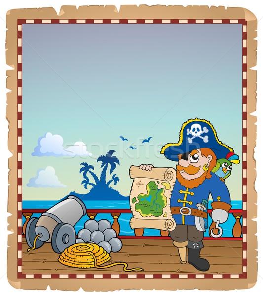 Foto stock: Pergamino · pirata · buque · cubierta · papel · arte