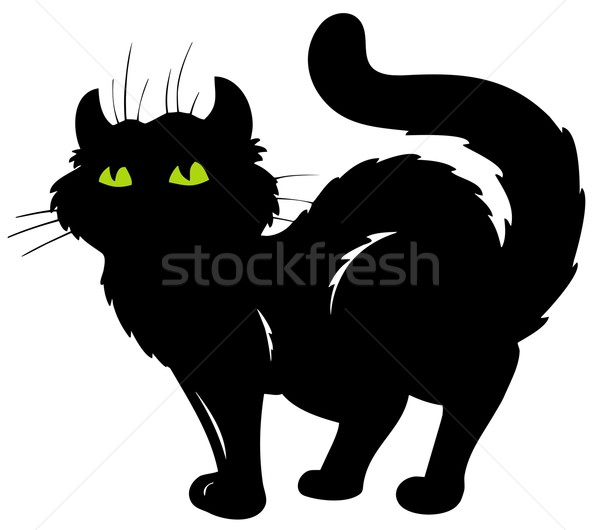 Stock photo: Standing cat silhouette
