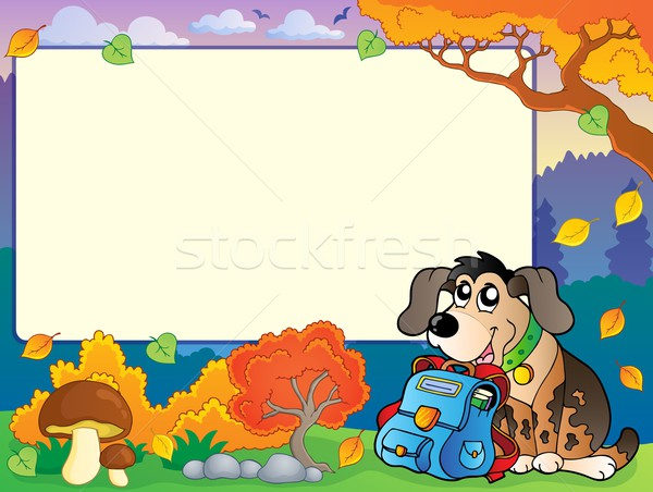 Autumn frame with dog and schoolbag Stock photo © clairev