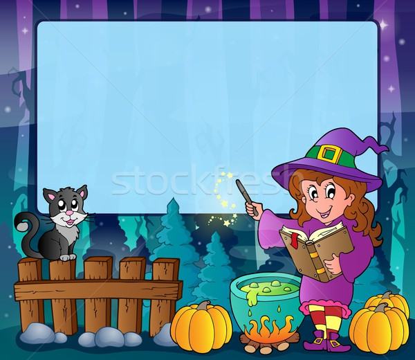 Mysterious forest Halloween frame 7 Stock photo © clairev