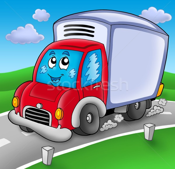Cute levering auto weg kleur illustratie Stockfoto © clairev