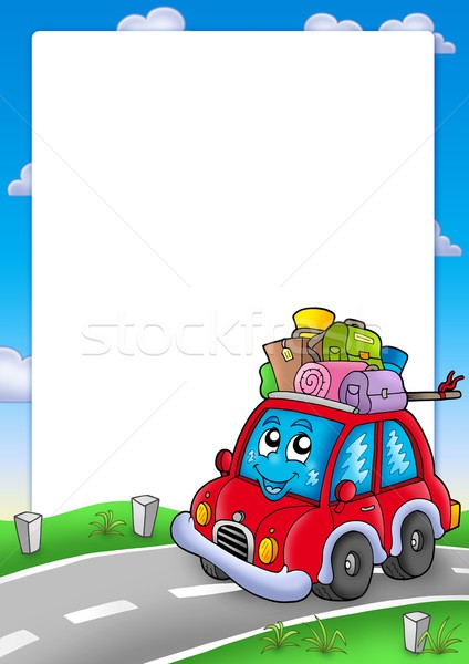 Frame with cute car and baggage Stock photo © clairev