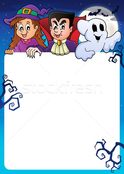 Frame with Halloween characters topic 1 Stock photo © clairev