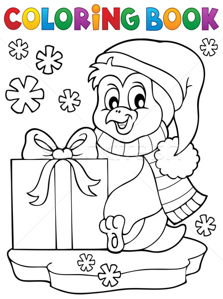 Stock photo: Coloring book penguin with gift