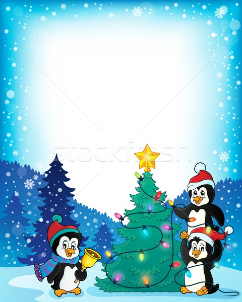 Frame with penguins and Christmas tree Stock photo © clairev