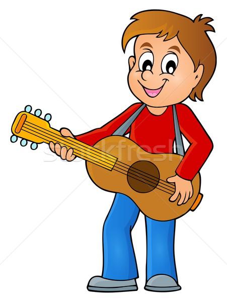 Jongen gitarist afbeelding glimlach gitaar kind Stockfoto © clairev