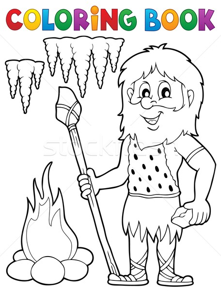 Coloring book cave man theme 1 Stock photo © clairev