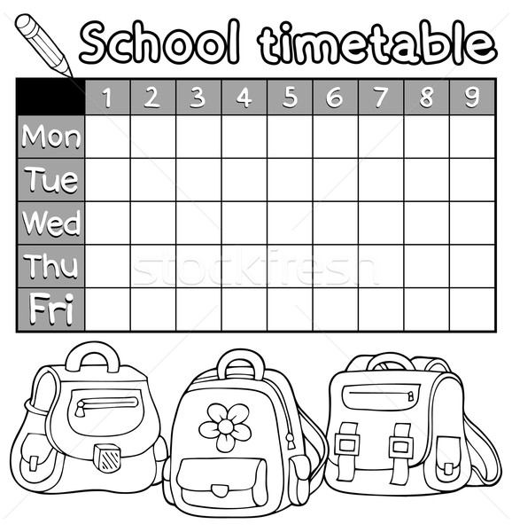 Coloring book timetable topic 5 Stock photo © clairev