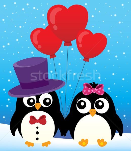 Valentine penguins theme image 2 Stock photo © clairev
