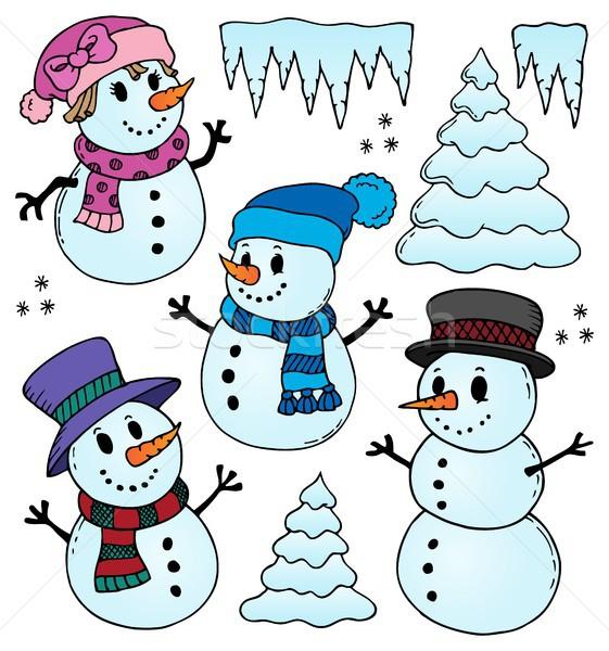 Stilize çizimler ağaç kar sanat kış Stok fotoğraf © clairev