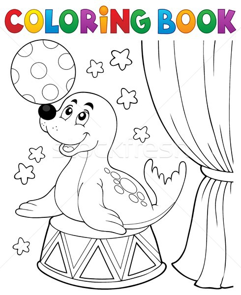 Coloring book seal playing with ball Stock photo © clairev