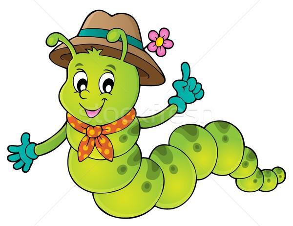 Feliz lagarta imagem primavera arte desenho Foto stock © clairev