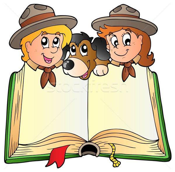 Stock photo: Opened book with two scouts and dog