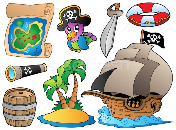 Stock photo: Set of various pirate objects