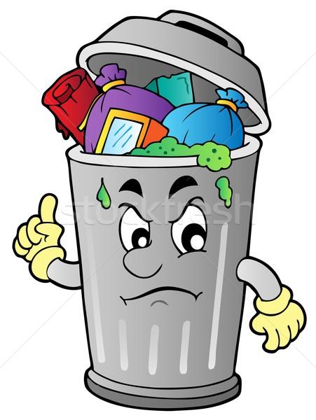 сердиться Cartoon мусорное ведро дизайна мусор корзины Сток-фото © clairev