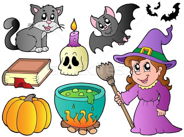 Halloween képek gyűjtemény művészet koponya gyertya Stock fotó © clairev