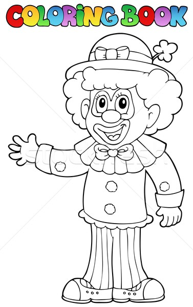 Stock photo: Coloring book with cheerful clown 3