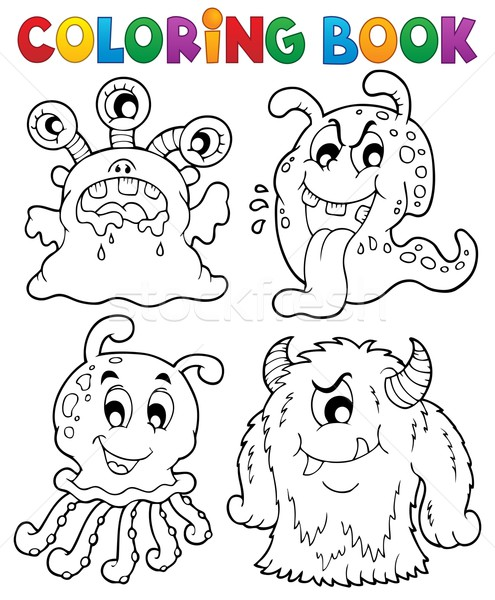 Stock photo: Coloring book monster theme 1