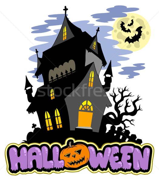 Halloween sign with haunted mansion Stock photo © clairev
