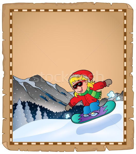 Parchment with winter sport theme 2 Stock photo © clairev