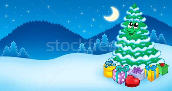 Christmas card with tree and gifts Stock photo © clairev