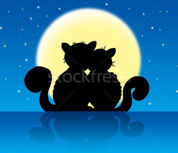 Foto d'archivio: Due · gatti · chiaro · di · luna · colore · illustrazione · cielo