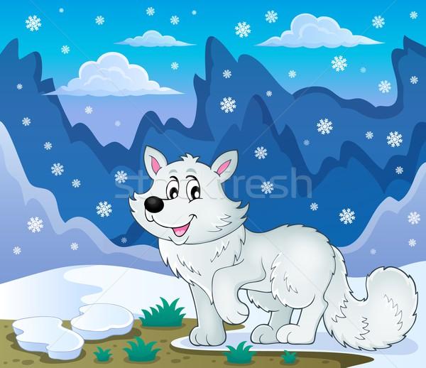 極地の キツネ 画像 雪 芸術 笑みを浮かべて ストックフォト © clairev