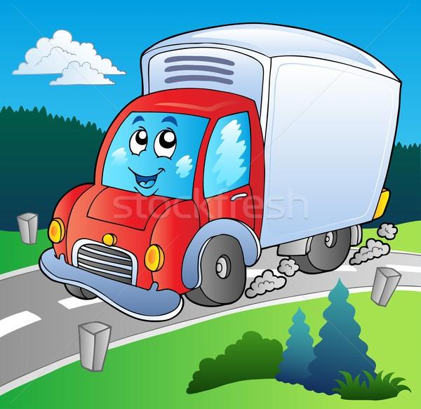 Cartoon camion de livraison route voiture sourire couleur Photo stock © clairev