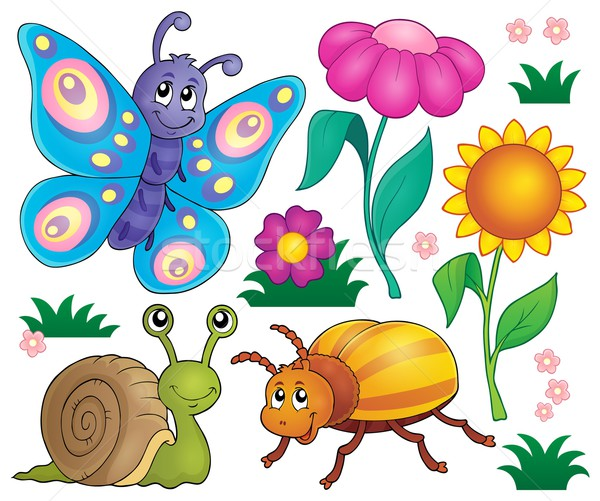 Stock photo: Spring animals and insect theme set 2