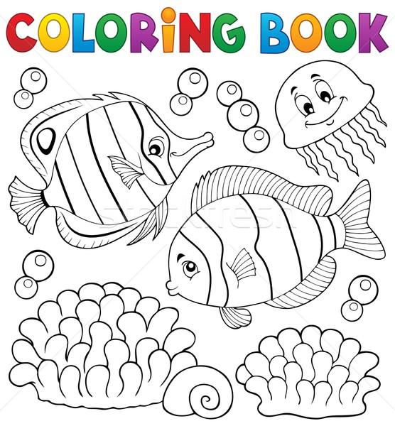 книжка-раскраска коралловые рыбы книга природы краской Сток-фото © clairev