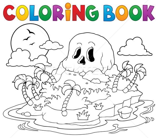 Coloring book pirate skull island Stock photo © clairev