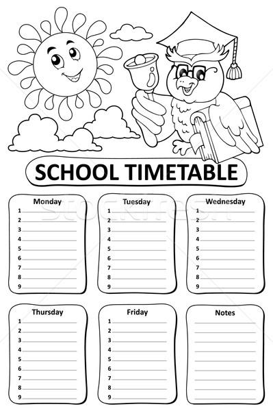 Preto e branco escolas horário livro sol arte Foto stock © clairev