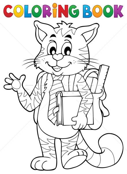 Coloring book school cat theme 1 vector illustration © Klara