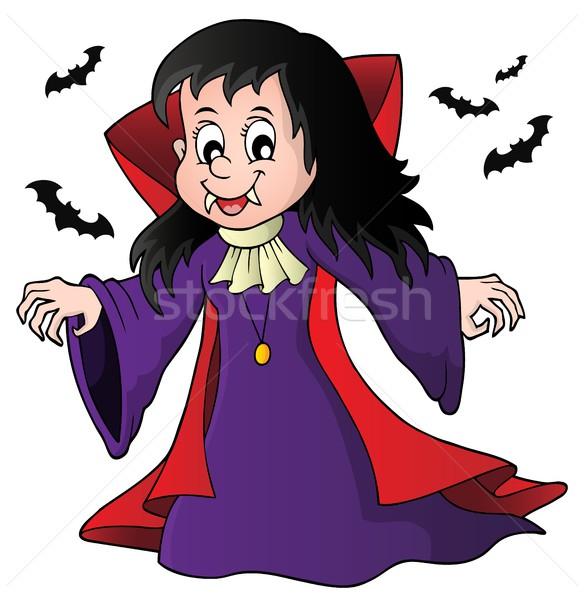 Vampiro nina imagen sonrisa arte dientes Foto stock © clairev