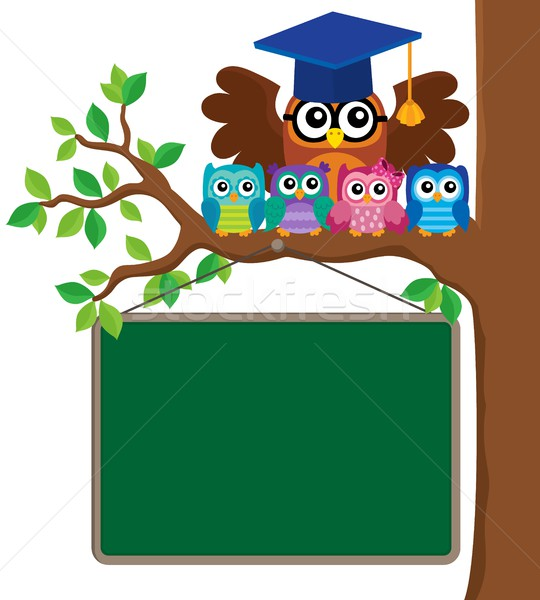 Owl teacher and owlets theme image 3 Stock photo © clairev