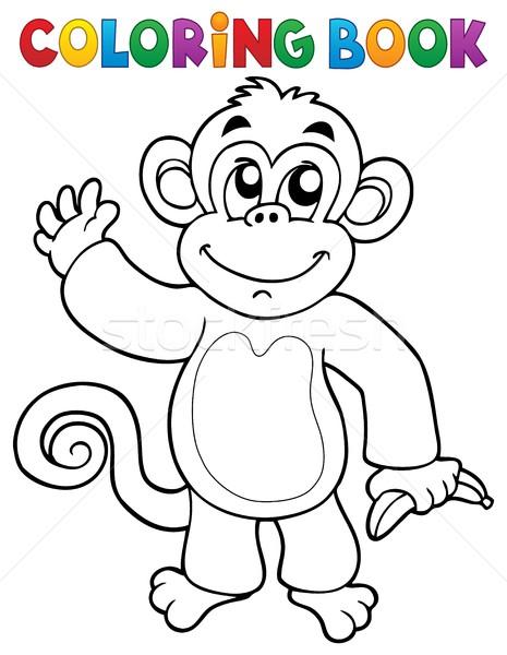 Boyama Kitabı Maymun Kitap Boya Sanat Muz Vektör