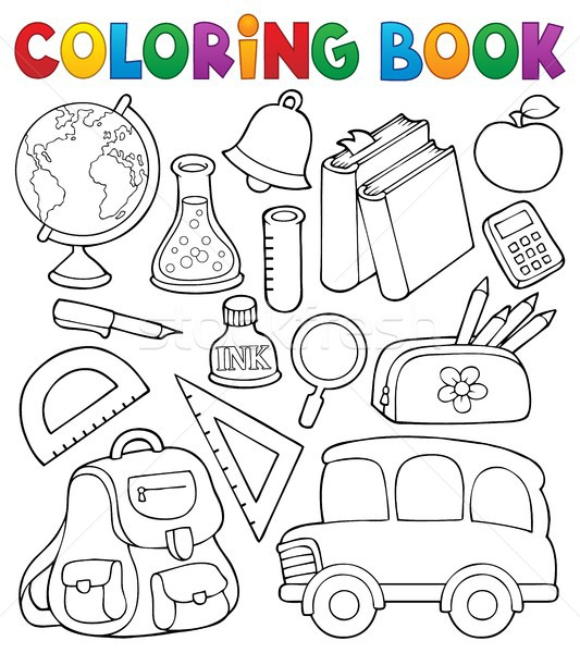 Coloring book school related objects 1 Stock photo © clairev